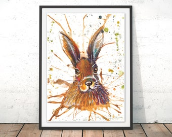 Hare Illustration, Hare Art Print, Rabbit wall art, Hare painting, Framed Print, Hare watercolour home decor inks Hare print by Katherine