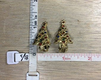 Vintage Gold Toned Clip On Earrings Christmas Tree Red Blue Green Rhinestones Used