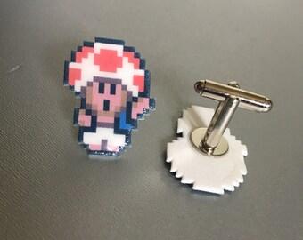 Toad - Wario's Woods / Super Mario cufflinks