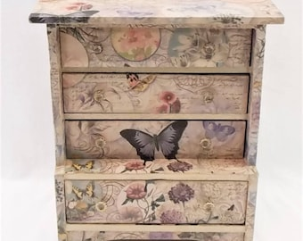 Music Jewelry Box 4 Drawers Speak Softly Love 1972 Multi Colors Butterfly Floral Hand Painted Decoupaged