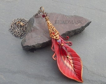 Phoenix Feather Leather Pendant with Brass Filigree and Faceted Glass - Firebird Feather in Fiery Reds and Golds - Transformation, Rebirth