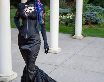"Goth Mermaid Fetish Dress - Vampire Dress Gothic Wedding Dress ""Dark Queen Gown"" - Distressed Masquerade Costume - Custom to Order"