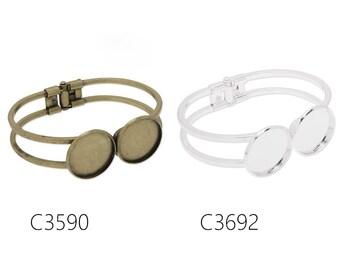 10PCS Bracelet With Two 20MM Bezels,Cuff,bracelet blanks,cuff bracelet blank, fit 20mm round cabochons
