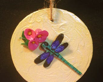 Dragonfly Ornament,Dragonfly Sculpture,Mixed Media Art, polymer clay art,Dragonfly painting