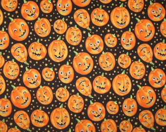 "Trick or Treat Pumpkins on Black Halloween fabric by Alexander Henry 27"" x 42"""