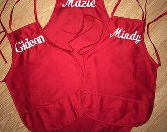 1 Adult and 2 Child Apron Set. Will be customized to your liking.