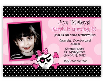 Pink Skull With Polka Dots or Zebra Print Birthday Party Invitation (Digital File)