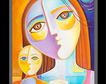 Cubism painting Cubist Art Figurative Mother Child Marlina Vera Modern Abstract Artwork Picasso style Mère peinture Modernist Madre Love oil