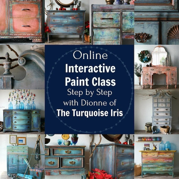 July 15th Paint Class Online and Step by Step Instruction - BLUE LAGOON