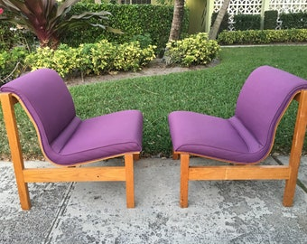 WHAT's THE SCOOP? / Unusual Bent Wood Danish Modern Chairs / Usable Upholstery / Modern Decor