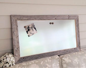 Barnwood Frame MAGNETIC Bulletin Board Dry Erase Reclaimed Recycled Weathered Gray Rustic Barn Wood 17x31 Handmade Frame Metal Silver Steel