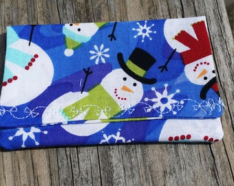 Snowman Chistmas Gift Card Holder/ Holiday Gift Money Holder/ Gift Card Wallet / Gift Card Holder / Fabric Envelope/ earbuds holder
