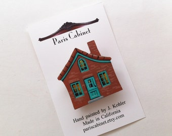 Brick House Brooch Pin Hand Painted on Wood by Paris Cabinet