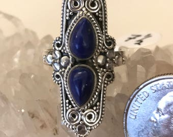 Victorian Lapis Ring Size  7 1/2