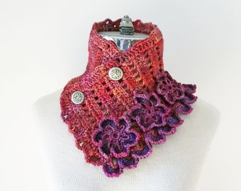 Floral Elegance Scarf, pink, purple scarf, Collar scarf, cowl scarf, floral scarf, SPECIAL EDITION, ready to ship, Woman's Scarf,