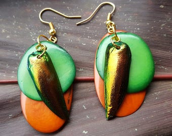 Boho Entomology Earrings – Jewel Beetle Wing Earrings – Bohemian Orange and Green Dangle Drop Earrings – Sustainable Tagua Nut Earrings
