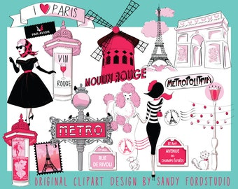 I love Paris ClipArt Collection - Instant Download
