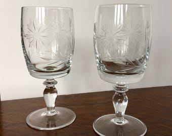 A beautiful pair of Crystal Sherry Glasses Scooners Etched with Dandelions Flowers and Folieage Mid Century 1960's Wedding
