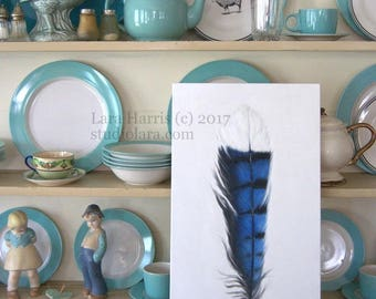 Blue Jay Feather Study LARGE Painting in OIL by LARA 12x24 Bird Woodland Farmhouse