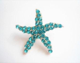 Crystal Aqua BLUE starfish decor rhinestone button SHANK back. Great for DIY wedding accessory, Bridal hair piece, beach wedding decor