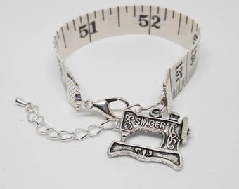 Adjustable Tape Measure Bracelet, Ruler Bangle, Gift for Quilter, Recycled Jewellery, Seamstress Token, Knitting Charms, Crafty Mom
