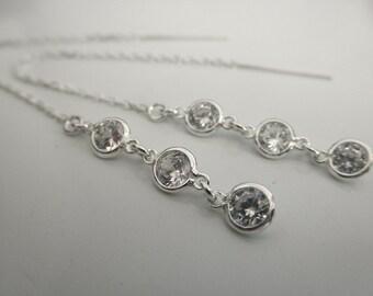 CZ sterling silver ear thread earrings - sterling chain earrings - long cz ear thread earrings- cz 925 solid sterling silver earrings