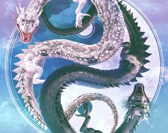 """Yin-Yang Dragons - Calm: 12 x 18"""" Print"""