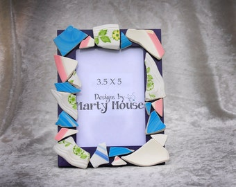 Sea Pottery Picture Frame/Sea Pottery/Mosaic Picture Frame/3.5 x 5 Frame/Purple & Blue Frame/Flower Picture Frame/Bohemian Picture Frame