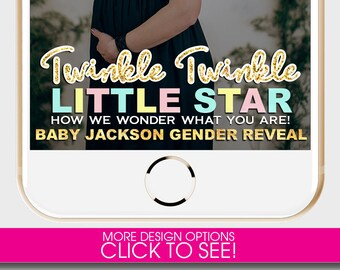 Gender Reveal Snapchat Filter, TWINKLE TWINKLE How We Wonder What You Are, Snapchat filter Baby,Snapchat Geofilter Baby Shower,Gender Reveal