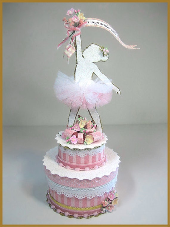 Little Girls Ballerina Cake Topper Centerpiece Keepsake Box