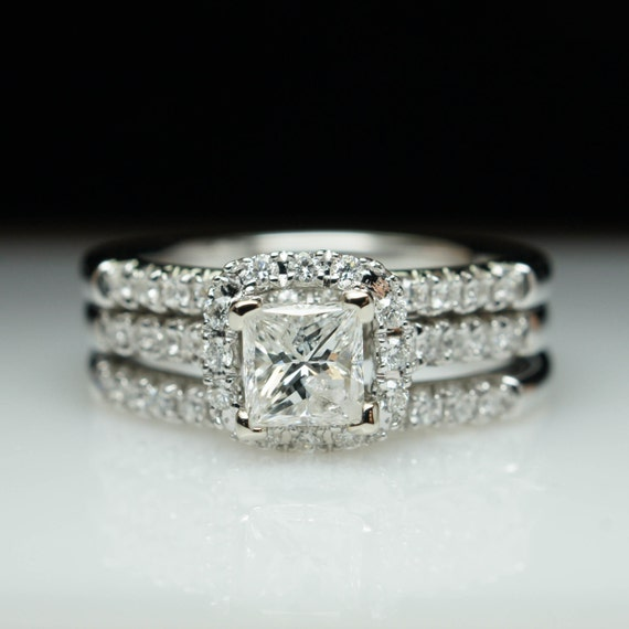 SALE Princess Cut Diamond Halo Engagement Ring & Two Wedding