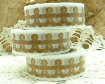 Holiday Gingerbread Man Christmas Cookie Washi Tape - 1937