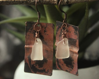 Lake Superior Sea Glass+Copper Earrings // Earthy Earrings // BOHO // Metal Jewelry // Duluth MN