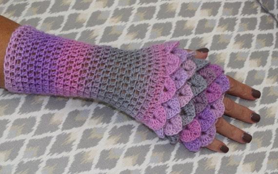 Crochet Pattern Kathleen Glove- fingerless glove pattern-crocodile ...