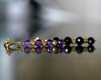 Amethyst Black Spinel studs silver or gold soft earrings with amethyst or black spinel silver or gold