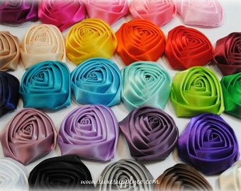 GORGEOUS Rolled satin rosette buds -- 2 inch -- Your Choice of 26 Colors -- WHOLESALE Discounts, you choose the quantity!