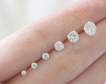 10K All Sizes Solid Yellow Gold Round Bright Clear Cz Prong Set Stud Earrings size 2 - 10mm Men Women Children Kids New Born ** PAIR **