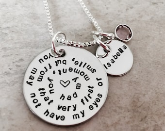 You may not have my eyes or smile but from that very first moment you had my heart adoption necklace adopted child step child stepdaughter