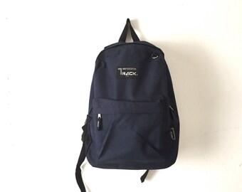90s navy blue BACKPACK school book bag daypack CLASSIC lightweight hiking biking bag