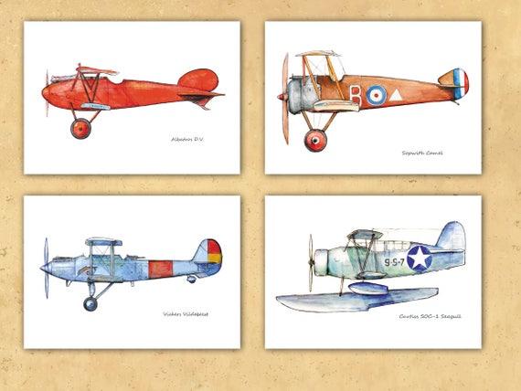 Airplane decor printable Set FOUR DIGITAL prints Boys nursery