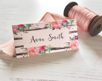 Bold Floral Place Cards - Wedding Name Cards  - Reception Table Decor