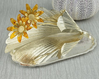 Silver Plated Shaped Flower and Leaf Dish Made in Italy