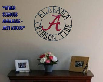 Alabama Crimson Tide Metal Sign, 18 inch Alabama metal art, Crimson Tide, Roll Tide, Alabama football, Alabama wall art, Football gift