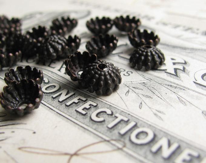 Mini sea urchin, 7mm domed beadcap (10 black bead caps) dark antiqued brass, ridged hemisphere, aged patina, hobnail bead cap BC-SG-011