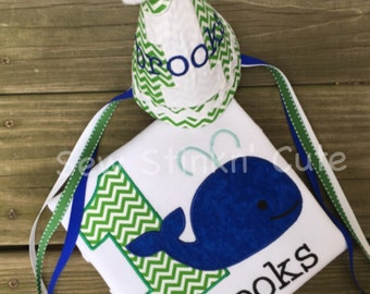 Personalized Machine Embroidered/Appliqued First Birthday Whale Shirt and Hat