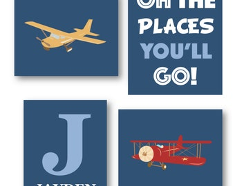 Airplane Nursery Decor // Oh The Places You'll Go Art // Airplane Wall Art // Planes Art Prints // Art for Boys Room // Four PRINTS ONLY