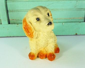 Chalkware Spaniel Dog Bank, Plaster Puppy Carnival Prize Savings Bank
