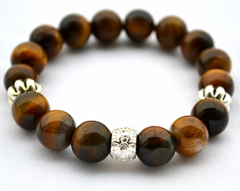 Mens Bracelet Tiger Eye Beads 12 mm Natural gemstone mens jewelry Gift for him