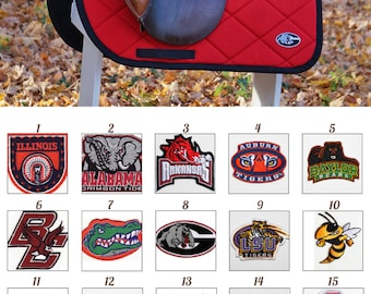 Custom Saddle Pad Collegiate Patch Saddle Pad - College Team - MADE TO ORDER