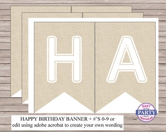 Linen Banner, Instant Download, Birthday banner, any occasion, party printables, party decor, birthday decor
